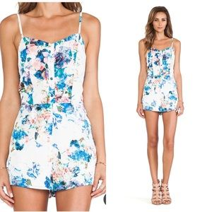 Lovers + Friends White Floral Romper with Pockets